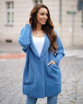 Niebieski płaszcz damski Denley 7108