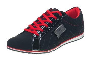 Półbuty męskie czarno-czerwone Denley 639Z