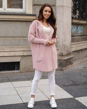 Różowy płaszcz damski Denley 7108