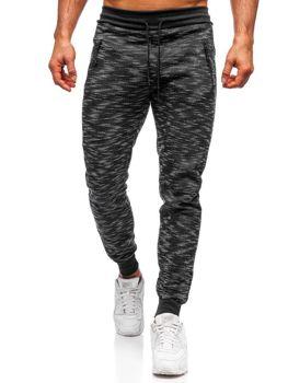 Spodnie dresowe męskie czarne Denley 8740