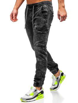 Spodnie jeansowe joggery męskie czarne Denley  KA687-2