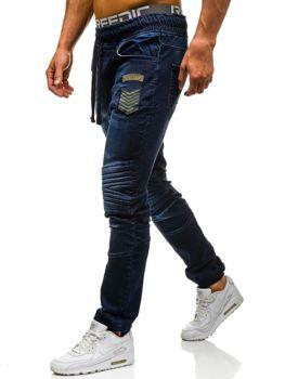 Spodnie jeansowe joggery męskie granatowe Denley 1810