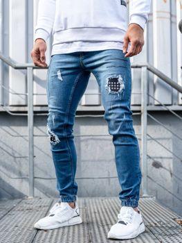 Spodnie jeansowe joggery męskie niebieskie Denley 2036-1