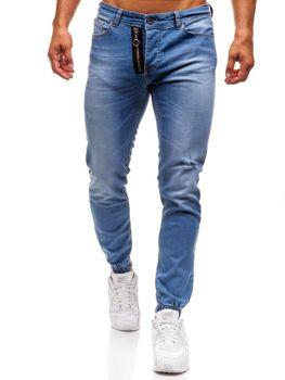 Spodnie jeansowe joggery męskie niebieskie Denley 2043