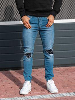 Spodnie jeansowe joggery męskie niebieskie Denley 2044-1