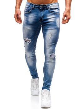 Spodnie jeansowe męskie niebieskie Denley 3950