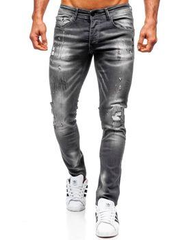 Spodnie jeansowe męskie regular fit czarne Denley 4005