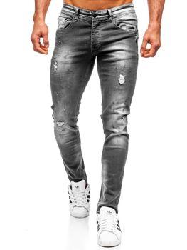 Spodnie jeansowe męskie regular fit czarne Denley 4006