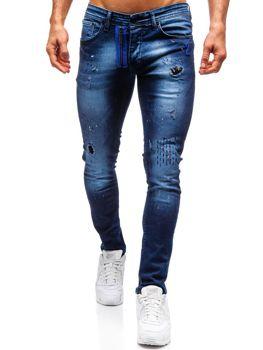 Spodnie jeansowe męskie skinny fit granatowe Denley 9241