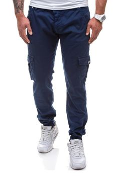 Spodnie joggery bojówki męskie granatowe Denley 0802
