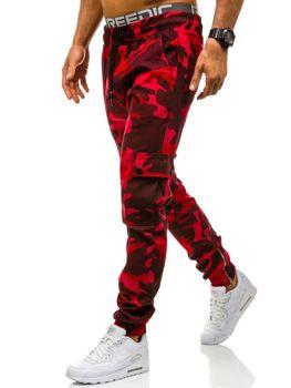 Spodnie joggery bojówki męskie moro-czerwone Denley 0858