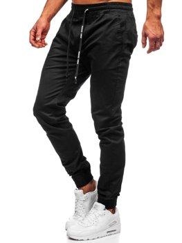 Spodnie joggery męskie czarne Denley KA951