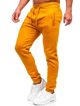 Spodnie męskie dresowe camelowe Denley XW01-A