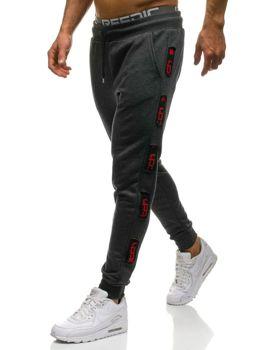 Spodnie męskie dresowe grafitowo-czerwone Denley 0921