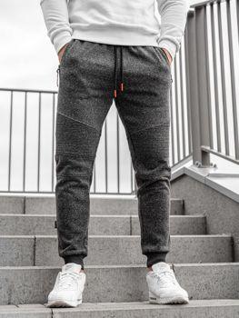 Spodnie męskie dresowe joggery czarno-pomarańczowe Denley Q3770