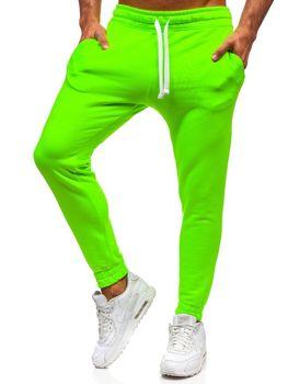 Spodnie męskie dresowe zielony-neon Denley 11121