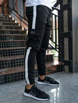 Spodnie męskie joggery bojówki czarne Denley 11117