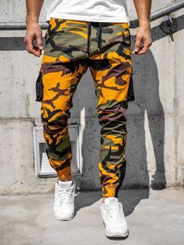 Spodnie męskie joggery bojówki zielono-pomarańczowe Bolf 0705