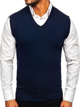 Sweter męski bez rękawów granatowy Denley H1950
