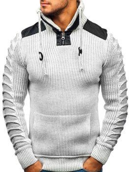 Sweter męski ze stójką ecru Denley 20013