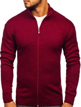 Sweter męski ze stójką rozpinany bordowy Denley 0003