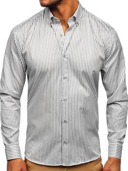 Szara  koszula męska w paski z długim rękawem Bolf 20726