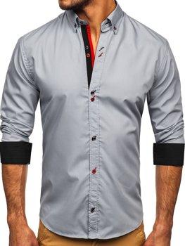 Szara koszula męska z długim rękawem Bolf 20710