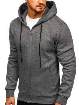 Szara rozpinana bluza męska z kapturem Denley JX9773