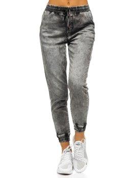 Szare spodnie jeansowe joggery damskie Denley SJ102-1