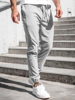 Szare spodnie materiałowe joggery męskie Denley 0011