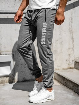Szare spodnie męskie dresowe Denley CE010