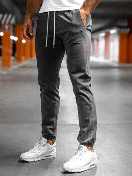 Szare spodnie męskie joggery Denley 1145