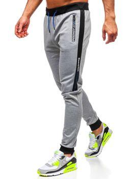 Szare z nadrukiem dresowe spodnie męskie Denley AM107
