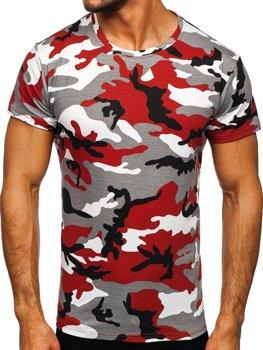 Szaro-bordowy t-shirt męski moro Denley S807