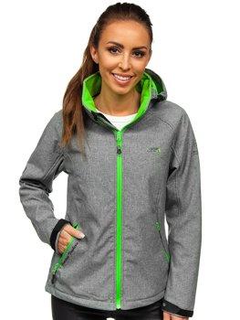 Szaro-zielona kurtka damska przejściowa softshell Denley A5801a