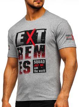 Szary T-shirt męski z nadrukiem Denley 14312