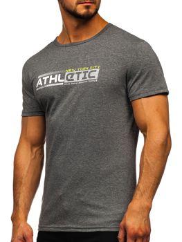 Szary T-shirt męski z nadrukiem Denley SS10951