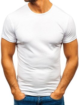 T-shirt męski bez nadruku biały Denley 0001