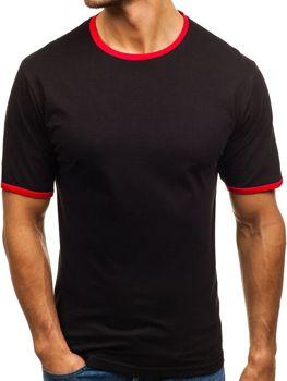 T-shirt męski bez nadruku czarny Denley 6310