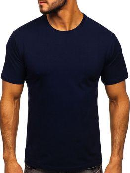 T-shirt męski bez nadruku granatowy Denley 192132