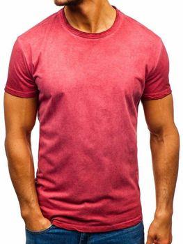 T-shirt męski bez nadruku różowy Denley 100728