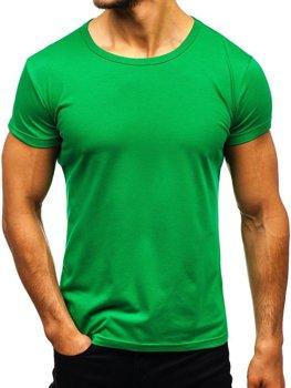 T-shirt męski bez nadruku zielony Denley AK999A
