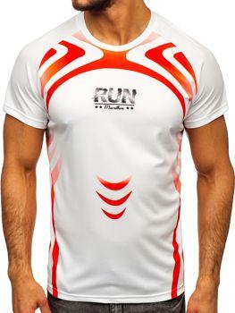 T-shirt męski treningowy z nadrukiem biały Denley KS2062