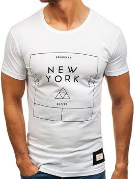 T-shirt męski z nadrukiem biały Denley 1119
