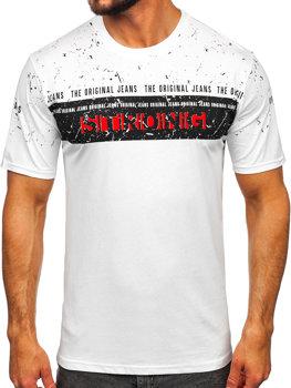 T-shirt męski z nadrukiem biały Denley 14204