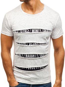 T-shirt męski z nadrukiem biały Denley 1881
