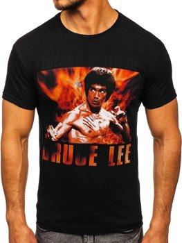 T-shirt męski z nadrukiem czarny Denley 001