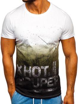 T-shirt męski z nadrukiem czarny Denley 100767