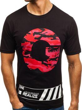 T-shirt męski z nadrukiem czarny Denley 6299