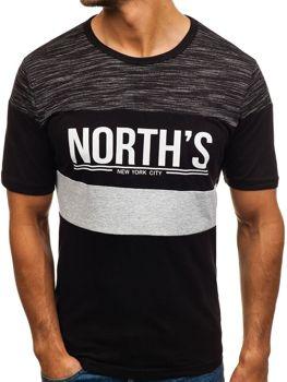 T-shirt męski z nadrukiem czarny Denley 6307